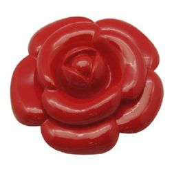 Cabochon gluing bead 47x14 mm red flower - 4 pieces