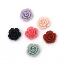 Мънисто резин тип кабошон роза 13x6 мм пастел МИКС -10 броя