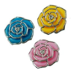 Rose with fastening 38x10 mm mixed colors - 3 pieces