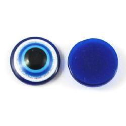 Adhesive Glitter Acrylic Evil Eye Beads, Flat Round 16x5 mm  -10 pieces