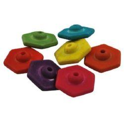 Perlă imitație lemn hexagon 17,5x8 mm gaură 2 mm MIX -50 grame ~ 51 bucăți