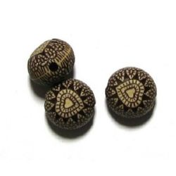 Antique acrylic flat ball  beads 14x10mm hole 2mm brown - 20g ~ 13 pcs.