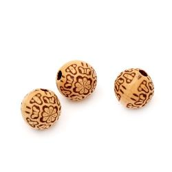 Antique acrylic ball beads 11mm Hole 2mm Brown - 20g ~ 17pcs.