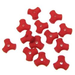Acrylic beads imitation wood matt frosted triangle 10x4.5 mm hole 2 mm red - 50 grams ~ 218 pieces
