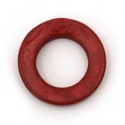 Inel nuca de cocos  margele 25x1 ~ 6 mm gaura 14 mm culoare rosu -10 bucati