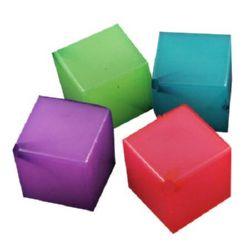 Κύβος χάντρα απομίμηση ζελέ 16x16x16 mm τρύπα 2 mm ΜΙΞ -50 γραμμάρια ± 10 τεμάχια