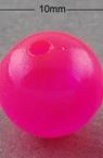 Χάντρα απομίμηση ζελέ στρογγυλή   10 mm τρύπα 2 mm ροζ -20 γραμμάρια ~ 37 τεμάχια