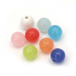 Мънисто имитация желе топче 10 мм дупка 1.5 мм микс -50 грама ~ 95 броя