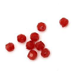 Bile imitație mărgele cu bile de 8x9 mm gaură 3,5 mm fațetată roșu -50 grame ~ 155 bucăți