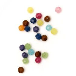 Beads imitation jelly ball 8x9 mm hole 3.5 mm faceted mix -50 grams ~ 155 pieces
