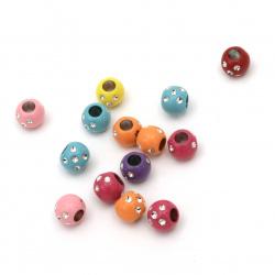 Мънисто имитация камъчета топче 9x7.5 мм дупка 3.5 мм МИКС -20 грама ±67 броя