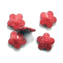 Acrylic Beads imitation stone flower 29x29x11 mm hole 2 mm red -50 grams ~ 12 pieces