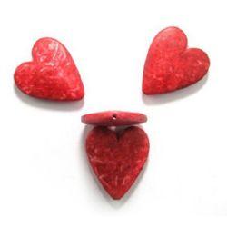 Мънисто имитация камък сърце 47x39x9 мм дупка 2 мм червено -50 грама ~ 4 броя