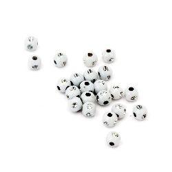 Мънисто имитация камъчета топче 4 мм дупка 1 мм бяло -50 грама ~2400 броя
