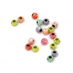 Мънисто имитация камъчета топче 6.5x5.5 мм дупка 3 мм МИКС -20 грама ±200 броя