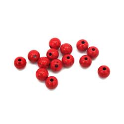 Χάντρα στρογγυλή   8 mm τρύπα 2 mm κόκκινο -50 γραμμάρια ~ 170 τεμάχια