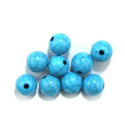 Acrylic round beads, imitation turquoise 10 mm hole 1.5 mm blue - 50 grams ~ 90 pieces