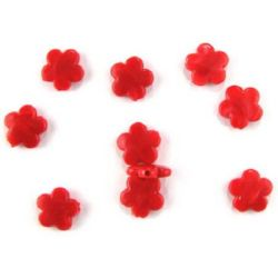 Мънисто имитация нефрит цвете 14x4 мм дупка 2 мм червено -50 грама ~ 98 броя