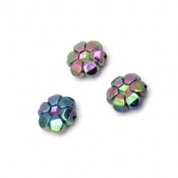 Мънисто имитация хематит цвете 10x4 мм дупка 1 мм ДЪГА -20 грама ~85 броя