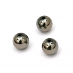 Мънисто имитация хематит топче 10 мм дупка 2 мм -20 грама ~40 броя