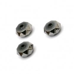 Мънисто имитация хематит шайба многостен 8x4 мм дупка 1.5 мм -20 грама ~165 броя