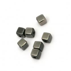 Мънисто имитация хематит куб 4x4 мм дупка 1 мм -20 грама ~340 броя