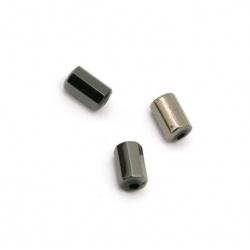 Мънисто имитация хематит цилиндър многостен 8.5x5 мм дупка 2 мм -20 грама ~130 броя