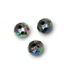Мънисто имитация хематит абакус 8x6 мм дупка 1.5 мм ДЪГА -20 грама ~130 броя