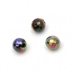 Мънисто имитация хематит топче 8 мм дупка 2 мм фасетирано ДЪГА -20 грама ±80 броя