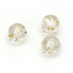 Bead crystal ball 10 mm hole 2 mm transparent with glitter gold color -20 grams ~ 35 pieces