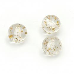 Мънисто кристал топче 10 мм дупка 2 мм прозрачно с брокат цвят злато -20 грама ~35 броя