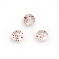Bead crystal ball 10 mm hole 2 mm transparent with glittercolor red -20 grams ~ 35 pieces
