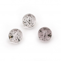 Мънисто кристал топче 10 мм дупка 2 мм прозрачно с брокат цвят черен -20 грама ~35 броя