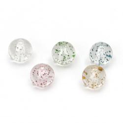Мънисто кристал топче 10 мм дупка 2 мм прозрачно с брокат МИКС -20 грама ~35 броя