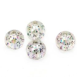 Мънисто кристал топче 10 мм дупка 1.5 мм ДЪГА с брокат сиво -20 грама ~ 38 броя