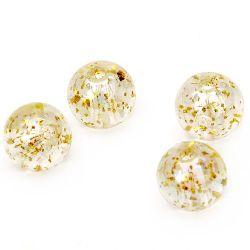 Мънисто кристал топче 10 мм дупка 1.5 мм ДЪГА с брокат екрю -20 грама ~ 38 броя