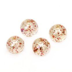 Мънисто кристал топче 10 мм дупка 1.5 мм ДЪГА с брокат пепел от рози -20 грама ~ 38 броя