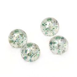 Мънисто кристал топче 10 мм дупка 1.5 мм ДЪГА с брокат зелено -20 грама ~ 38 броя