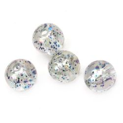 Мънисто кристал топче 10 мм дупка 1.5 мм ДЪГА с брокат синьо -20 грама ~ 38 броя