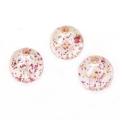 Χάντρα απομίμηση κρύσταλλο σφαίρα 12mm τρύπα 1.5mm ιριδίζον με χρυσόσκονη ροζ -20 γραμμάρια ~ 21 τεμάχια