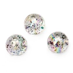 Мънисто кристал топче 14 мм дупка 1.5 мм ДЪГА с брокат сиво -20 грама ~ 14 броя