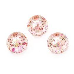 Χάντρα απομίμηση κρύσταλλο σφαίρα 14 mm 1,5 mm ιριδίζον με χρυσόσκονη ροζ -20 γραμμάρια ~ 14 τεμάχια