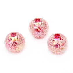 Мънисто кракъл топче 14 мм дупка 3 мм ДЪГА розово -20 грама ~ 15 броя