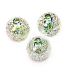 Мънисто кракъл топче 14 мм дупка 3 мм ДЪГА зелено -20 грама ~ 15 броя