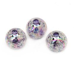 Мънисто кракъл топче 14 мм дупка 3 мм ДЪГА лилаво - 20 грама ~ 15 броя