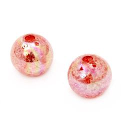 Мънисто кракъл топче 18 мм дупка 4 мм ДЪГА червено - 20 грама ~ 7 броя