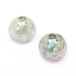 Мънисто кракъл топче 18 мм дупка 4 мм ДЪГА зелено - 20 грама ~ 7 броя