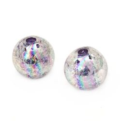 Мънисто кракъл топче 18 мм дупка 4 мм ДЪГА лилаво - 20 грама ~ 7 броя