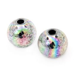 Bead cracked ball 18 mm hole 4 mm RAINBOW gray - 20 grams ~ 7 pieces