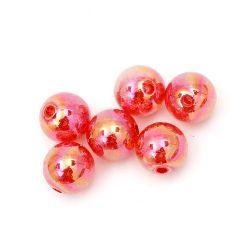 Мънисто кракъл топче 12 мм дупка 1 мм дъга червено -20 грама